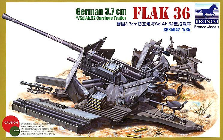 Bronco Models 1/35 German 3.7cm Flakvierling 36 w/Sd. Ah.52 Carriage Trailer