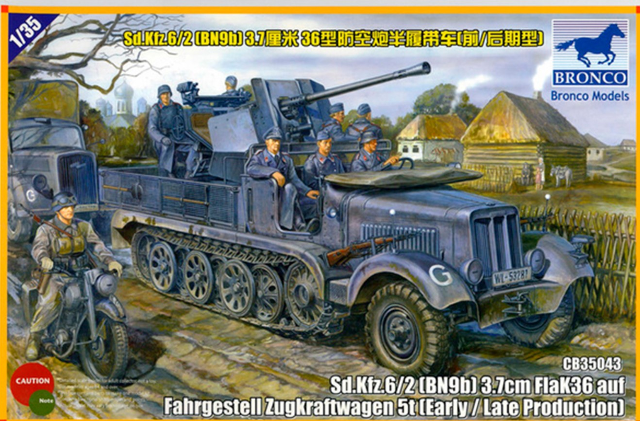 Bronco Models 1/35 Sd.kfz 6/2 (BN9) 3.7cm Flak 36 Half Track 5t Early/Late Prod. Military Vehicle
