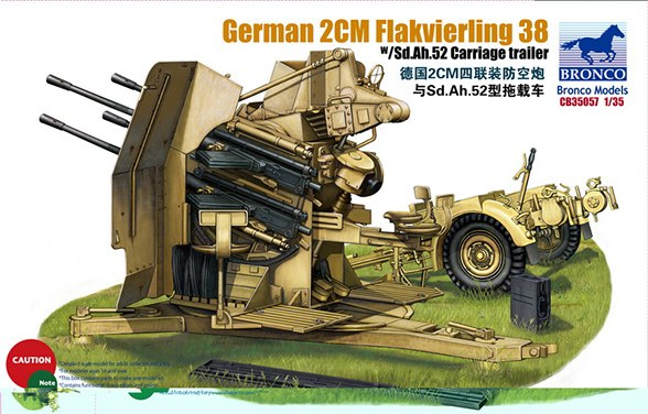 Bronco Models 1/35 German 2cm Flakvierling 38 w/ Sd.Ah.52 Carriage Trailer