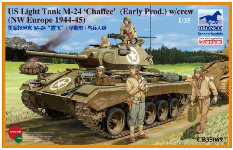 Bronco Models 1/35 US Light Tank M-24 Chaffee (Early Prod.) w/ Crew (NW Europe 1944-45)