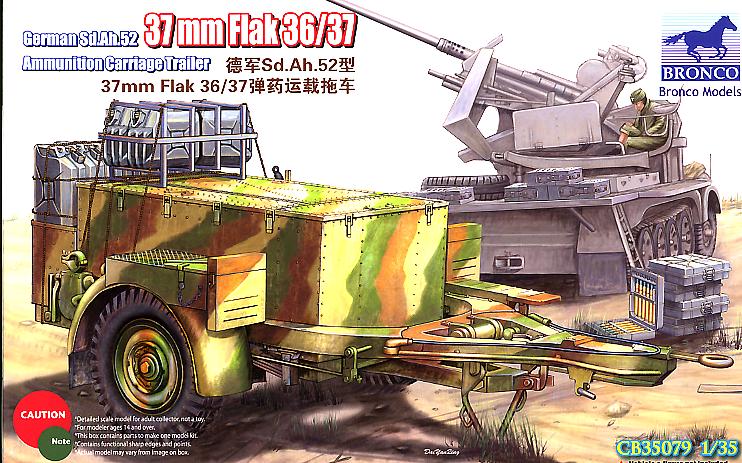 Bronco Models 1/35 German Sd.Ah.52 37mm Flak 36/37 Ammunition Carriage Trailer
