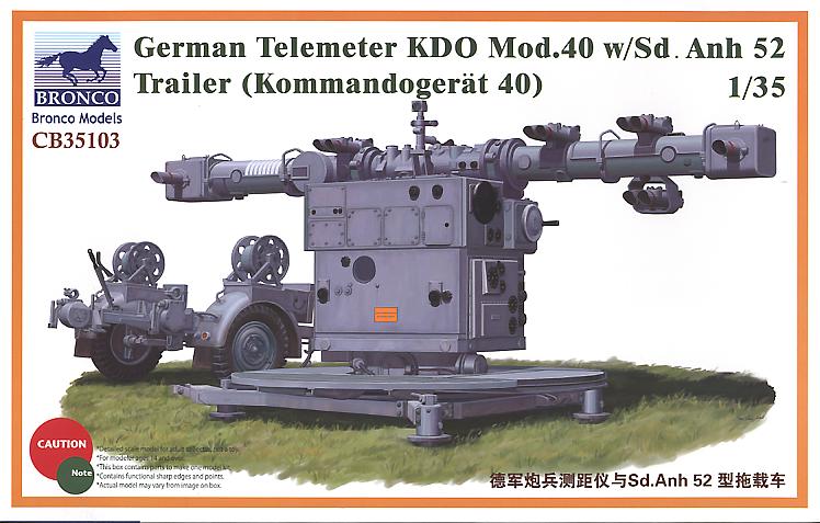 Bronco Models 1/35 German Telemeter KDO Mod.40 w/ Sd.Anh 52 (Kommando-Gerat 40) Trailer Model Kit