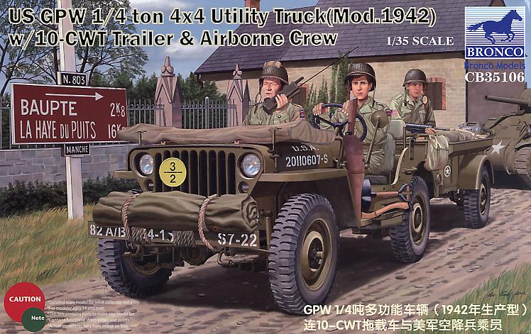 Bronco Models 1/35 US GPW 1/4 ton 4/4 Utility Track(Mod.1942) w/ 10-CWT Trailer & Airborne Crew