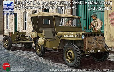 Bronco Models 1/35 US GPW 1/4 ton 4/4 Utility Vehicle(Mod.1942) w/37mm Anti-Tank Gun M3A1
