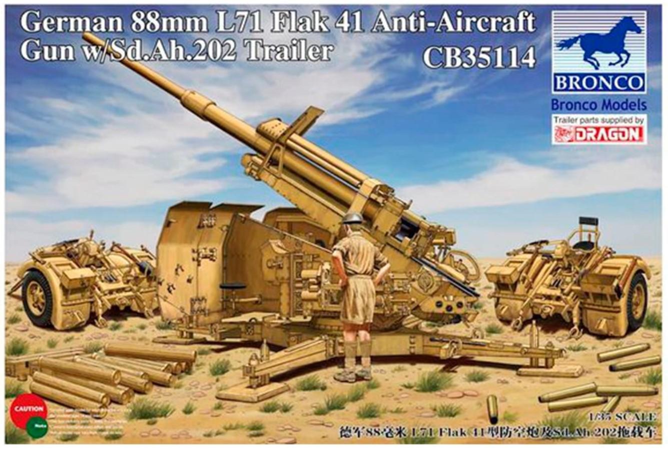 Bronco Models 1/35 German 88mm L71 Flak41 Anti-Aircraft Gun w/ Sd.Ah.202 Trailer