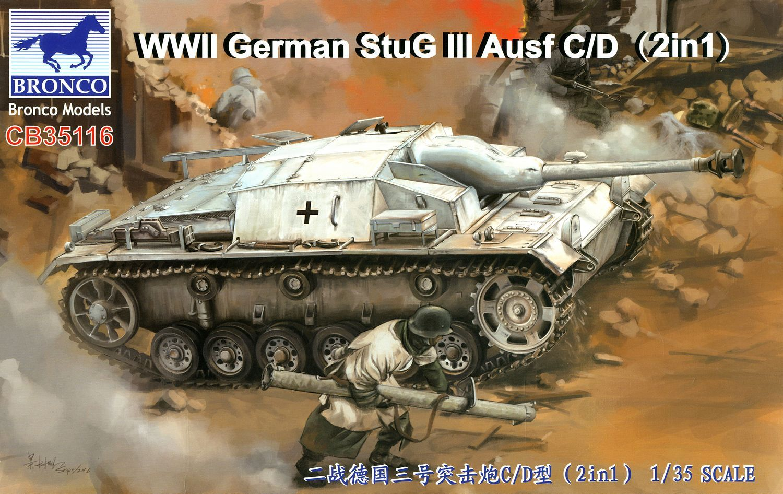 Bronco Models 1/35 WWII German StuG III Ausf C/D with 75mm StuK 37/L24 & 75mm StuK40/L48 (2 in 1)