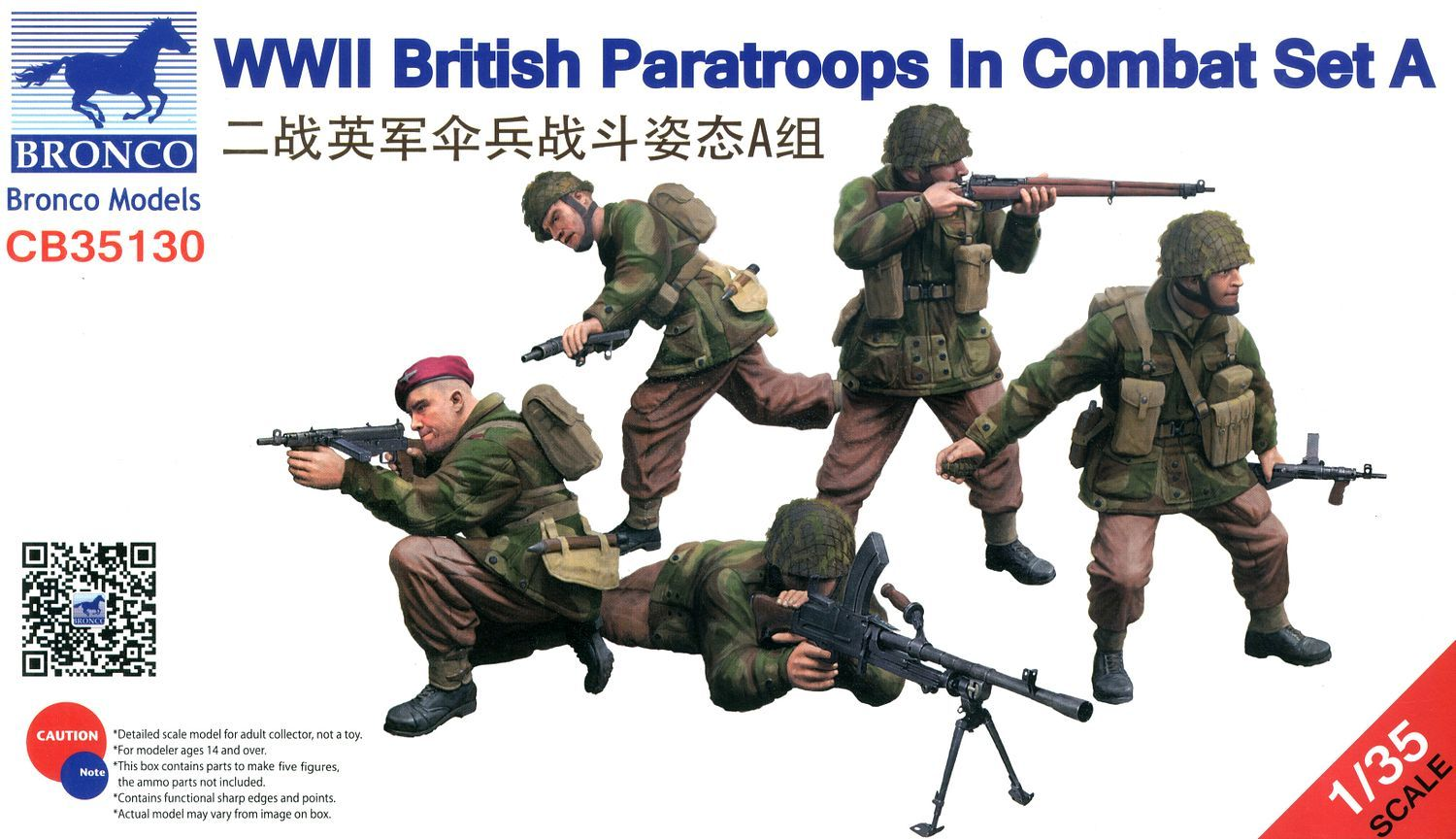 Bronco Models 1/35 WWII British Paratroops In Combat Set A