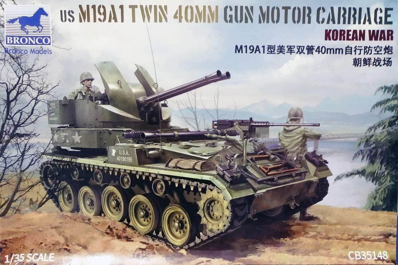 Bronco Models 1/35 US M19A1 Twin 40mm Gun Motor Carriage Korean War APC/IFV Vehicle