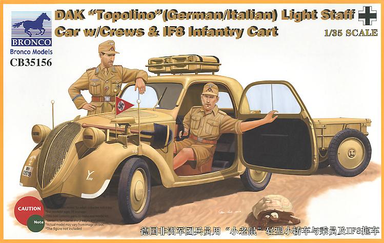 Bronco Models 1/35 DAK 'Topolino'(German/Italian)Light Staff Car w/Crew & IF8 Infantry Cart