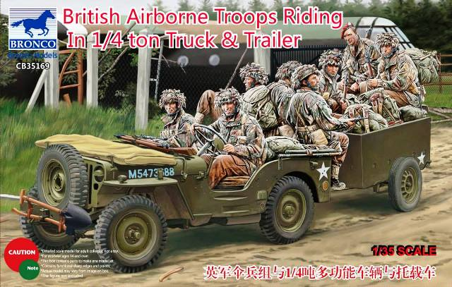 Bronco Models 1/35 British Airborne Troops Riding In 1/4 Ton Truck & Trailer