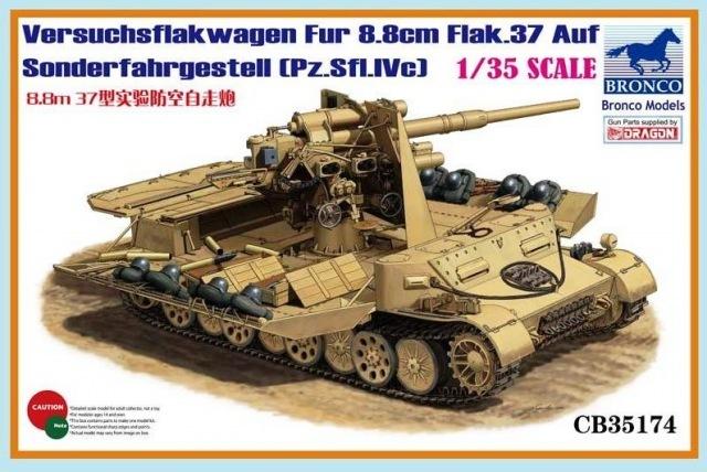 Bronco Models 1/35 Versuchsflakwagen 8.8cm Flak 37 auf Sonderfahrgestell(Pz.Sfl.IVc) Military Cannon