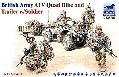 Bronco Models 1/35 British Army ATV Quad Bike and Trailer Military Vehicle w/ Soldier Figure