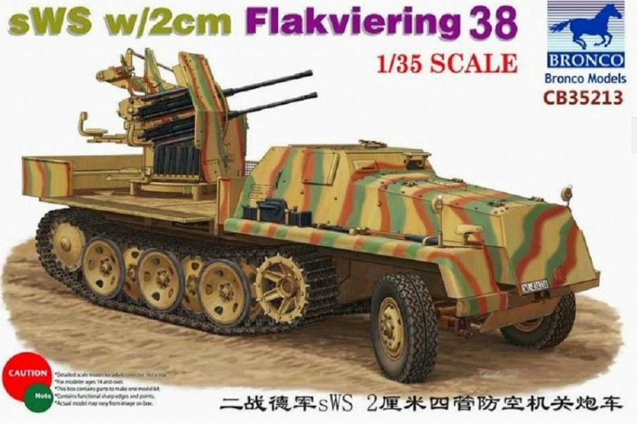 Bronco Models 1/35 sWS w/ 2cm Flakviering 38 Military Truck