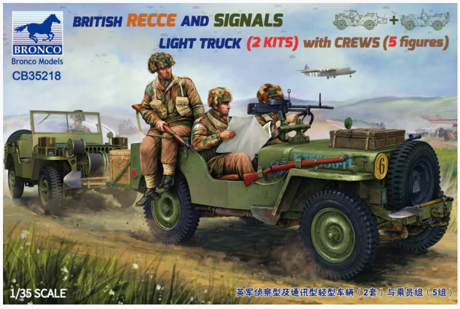 Bronco Models 1/35 British Recce And Signals Light Truck (2 Kits) With Crew 5 Figures