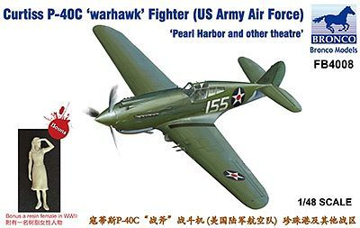 Bronco Models 1/48 Curtiss P-40C Warhawk US Army Air Force Fighter