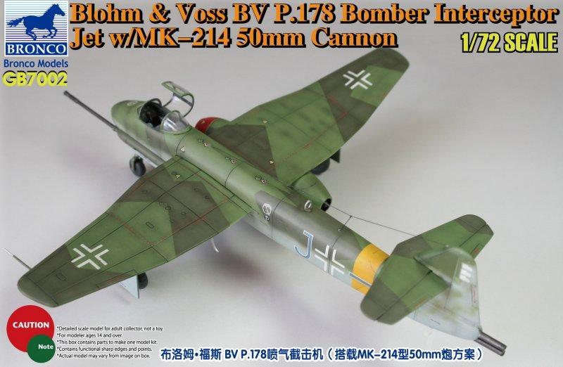 Bronco Models 1/72 Blohm & Voss BV P178 Bomber Interceptor Jet w/ MK-214 50mm Cannon