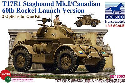 Bronco Models 1/48 T17E1 Staghound Mk.I/Canadian 60lb rocket launch Version
