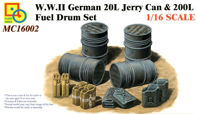 Classy Hobby 1/16 W.W.II German 20L Jerry Can & 200L Fuel Drum Set