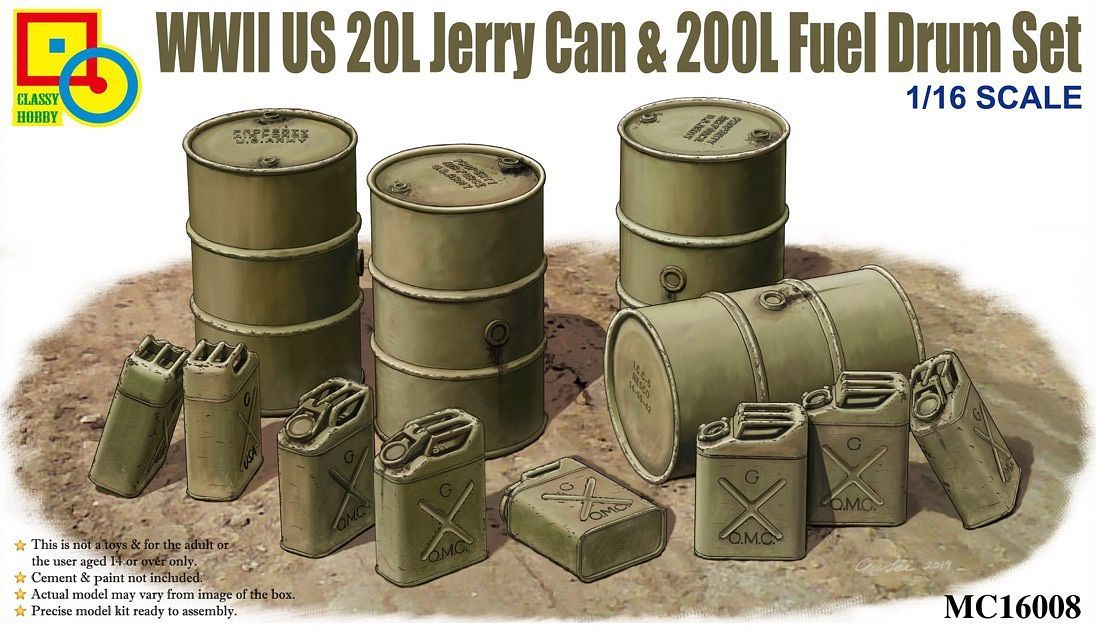 Classy Hobby 1/16 WWII US 20L Jerry Can & 200L Fuel Drum Set