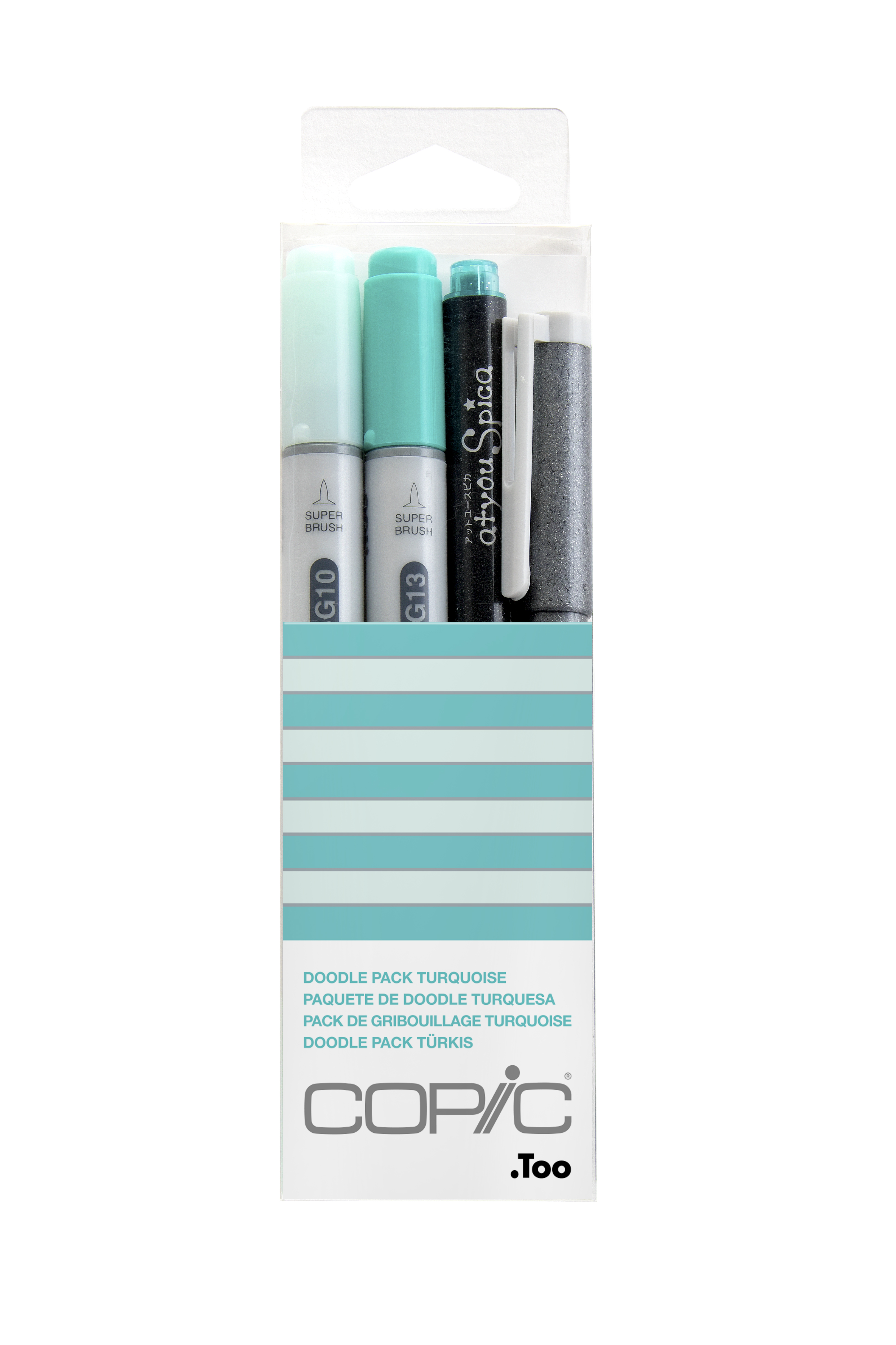 Copic Ciao Marker 4pc Doodle Kit, Turquoise