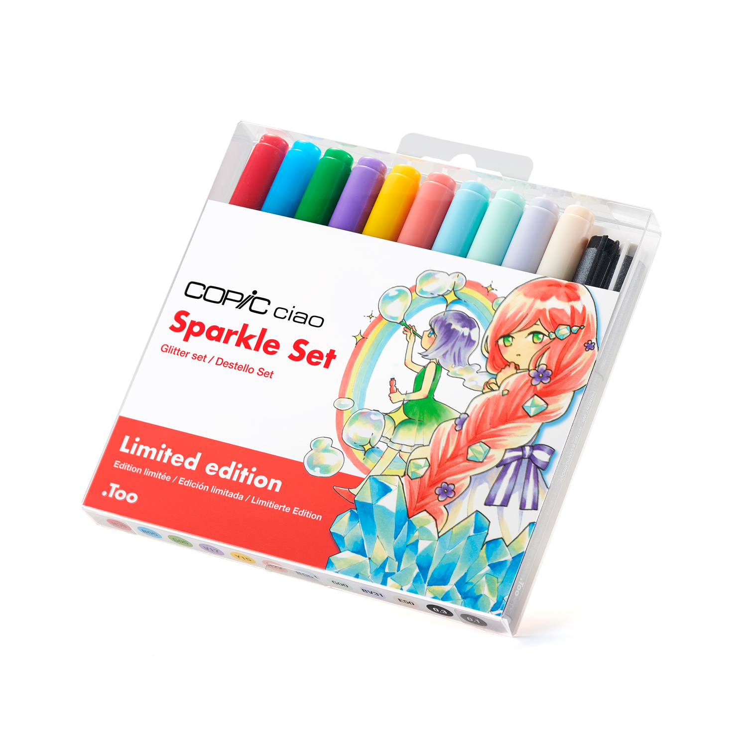 Copic Ciao Marker 4pc Doodle Kit, Sparkle Set, Includes a Learning Booklet