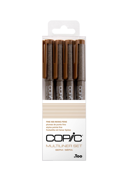 Copic Multiliner 4Pc Fine Nib Ink Pens, Sepia