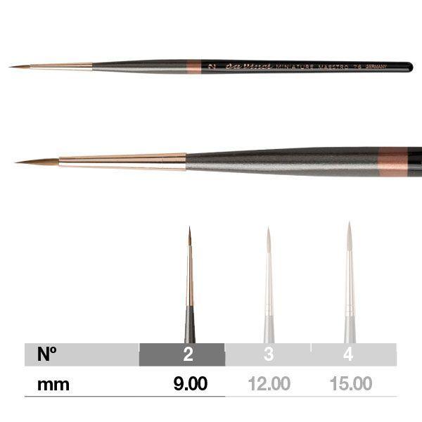 Da Vinci Miniature Maestro Series 76 Brush - Pointed, Short Handle, Size 2