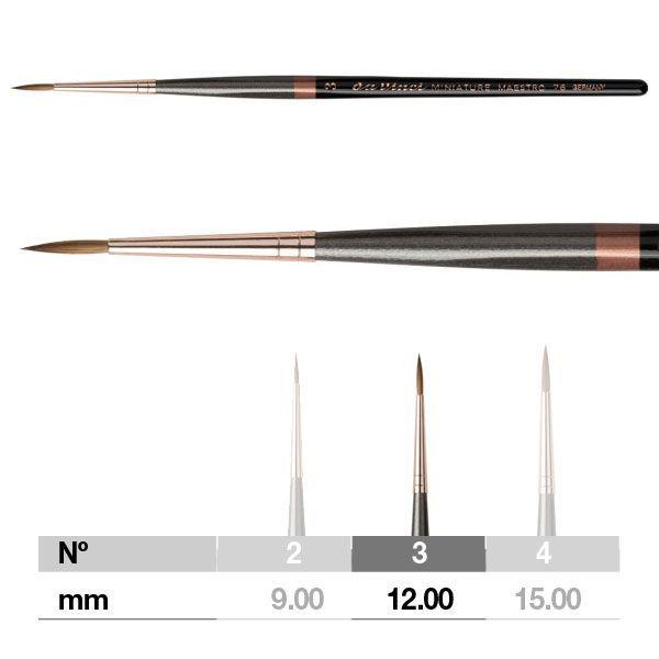 Da Vinci Miniature Maestro Series 76 Brush - Pointed, Short Handle, Size 3
