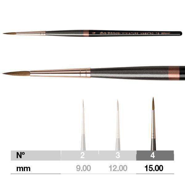 Da Vinci Miniature Maestro Series 76 Brush - Pointed, Short Handle, Size 4