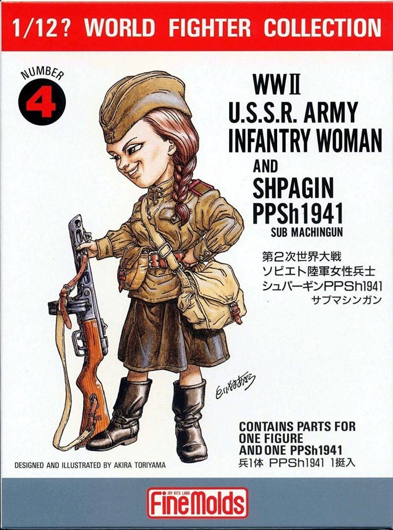 FineMolds 1:12 W.W.II U.S.S.R. Infantry Woman & PPSh1941 Figure Kit