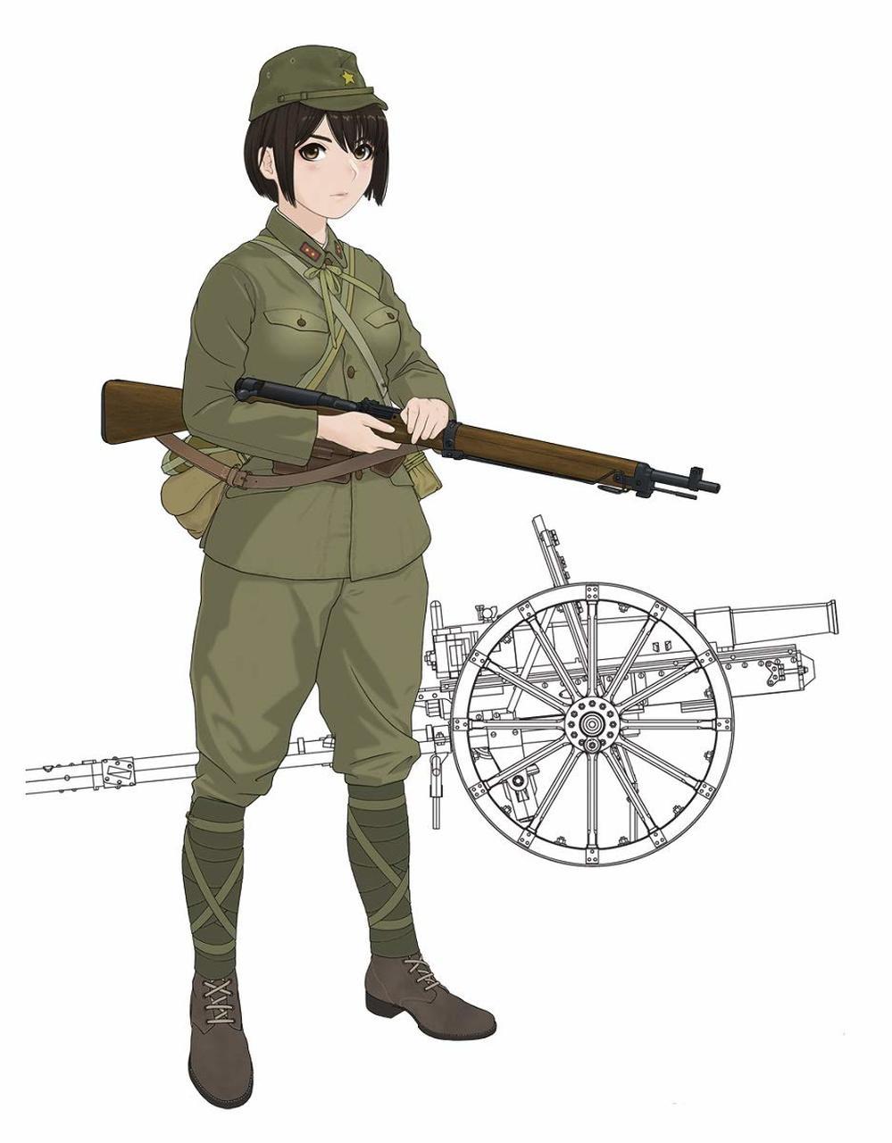 """FineMolds 1/35 Historic Costume Girl Type 41 75mm Mountain Gun with Figure """"Konoka"""""""