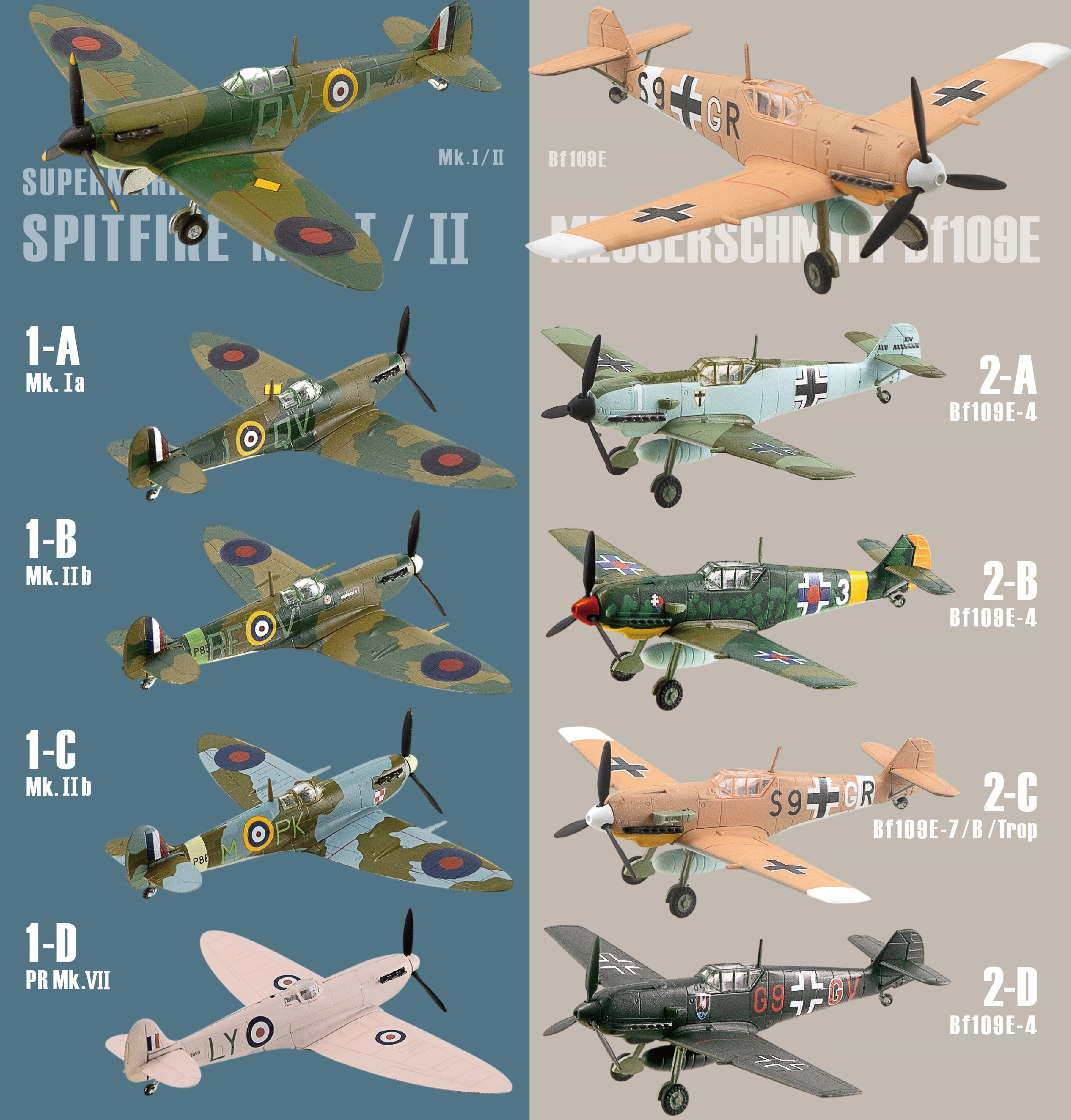 F-Toys 1/144 Wing Kit Collection Versus Series 15 Spitfire Mk.I/II Vs. Messerschmitt Bf109E,10-Pack Box with all 8 Varieties + 2 Secrets