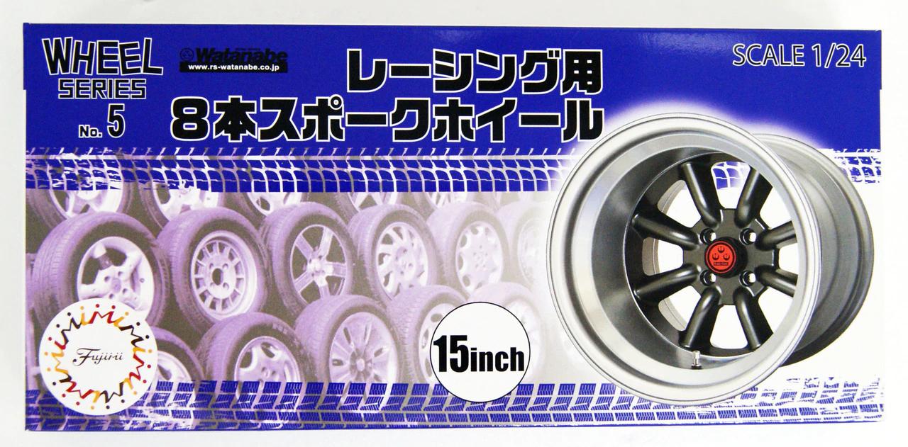 Fujimi 1/24 Wheel Series (No.5) 8-Spoke Racing Wheel & Tire Set 15 inch