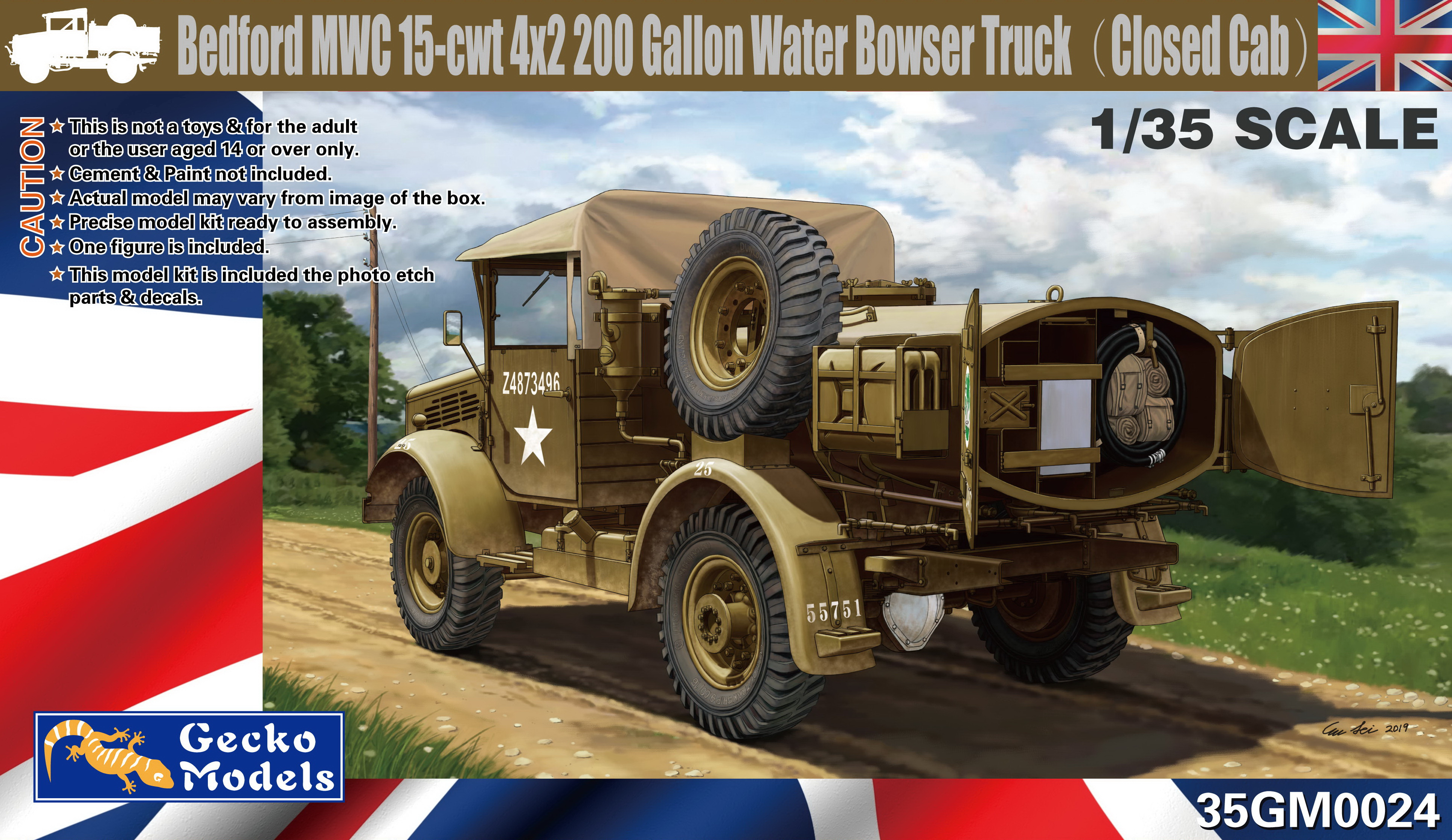 Gecko 1/35 Bedford MWC 15-cwt 4x2 200 Gallon Water Bowser Truck