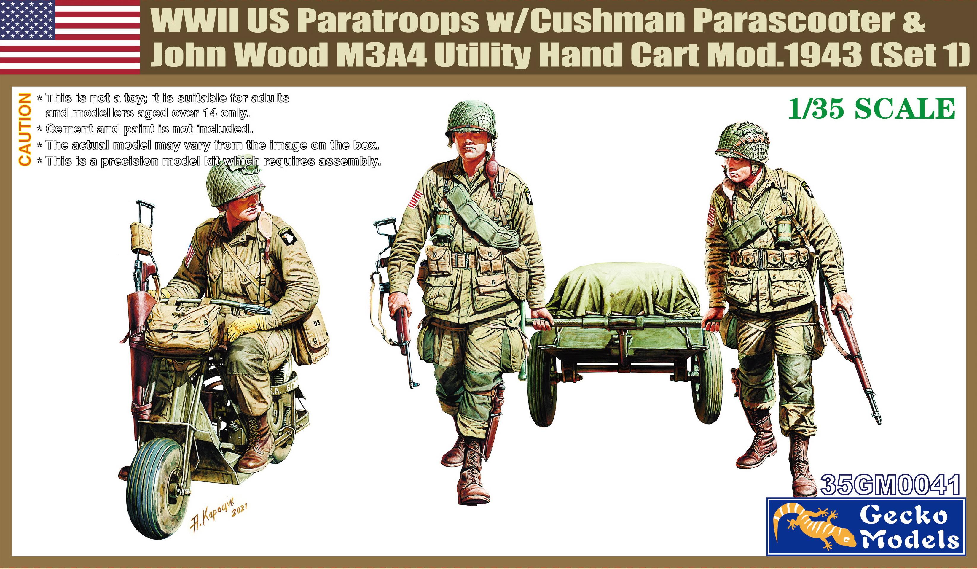 Gecko 1/35 M53 Scooter Cushman w-John Wood M3A4 Utility Hand Cart Mod. 1943 & US Paratroops (Set 1)