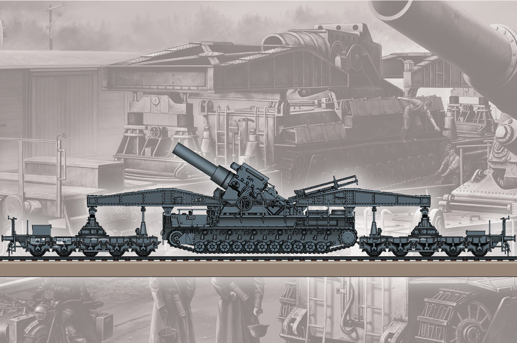 Hobby Boss German KARL-Geraet 040/041 on Railway Transport Carrier