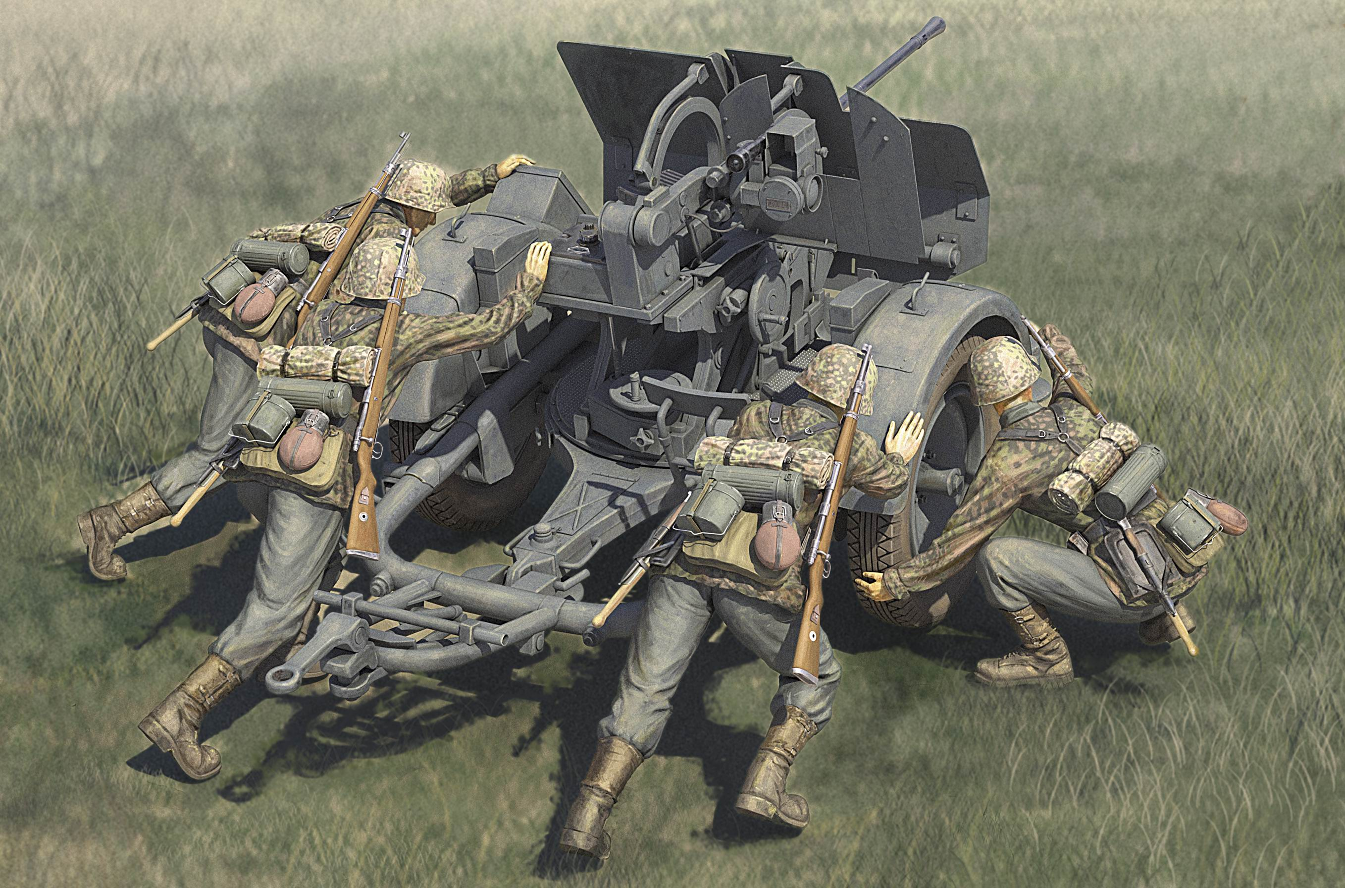 Hobby Boss 1/35 German 20mm Flak 38 Early with Waffen SS Crews