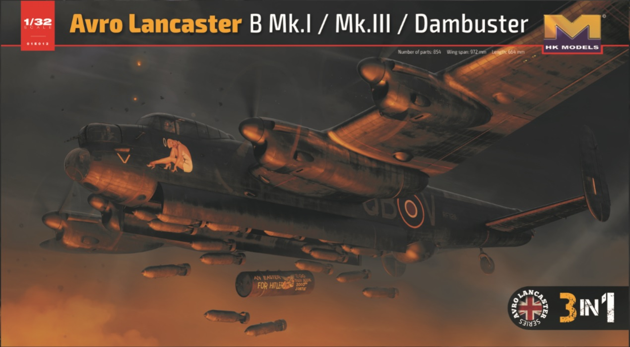HK Models 1/32 AVRO Lancaster B MK.I / Mk.III Dambuster (3 In 1), Aircraft