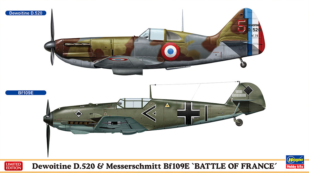 "Hasegawa 1/72 Dewoitine D.520 & Messerschmitt Bf109E ""Battle of France"""
