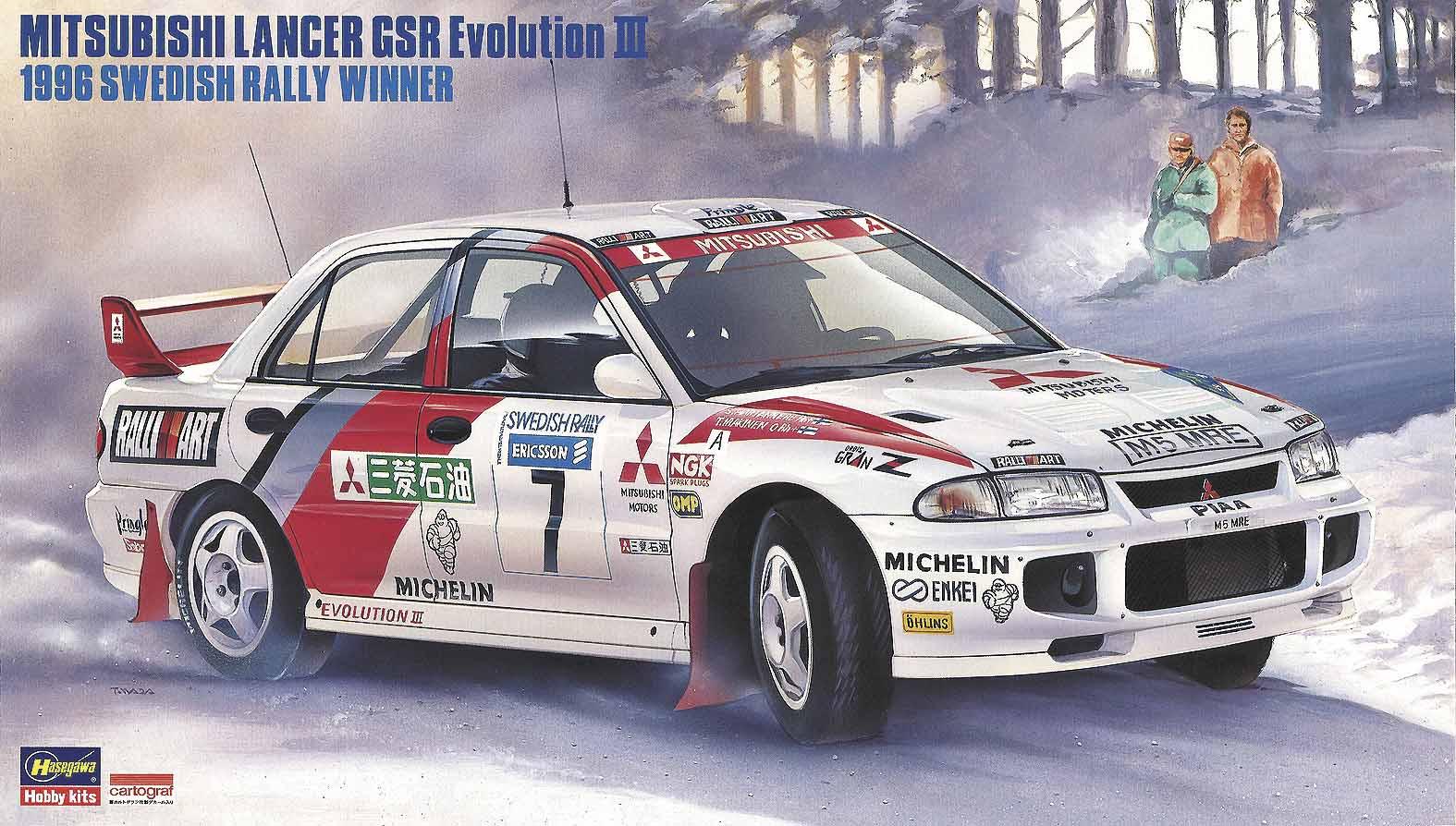 Hasegawa 1/24 Mitsubishi Lancer GSR Evolution III 1996 Swedish Rally winner