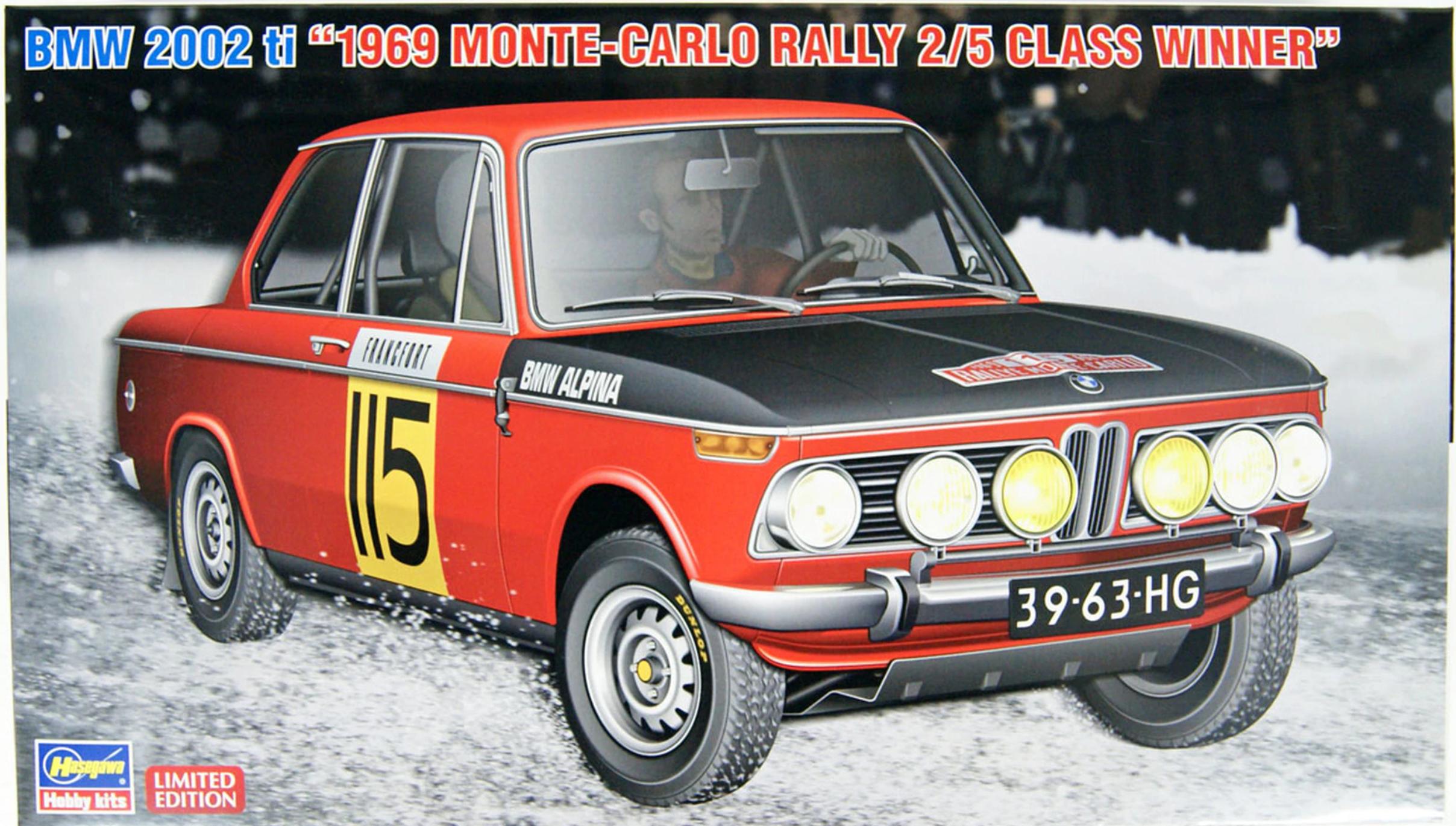 """Hasegawa 1/24 BMW 2002 ti """"1969 MONTE-CARLO RALLY 2/5 CLASS WINNER"""""""