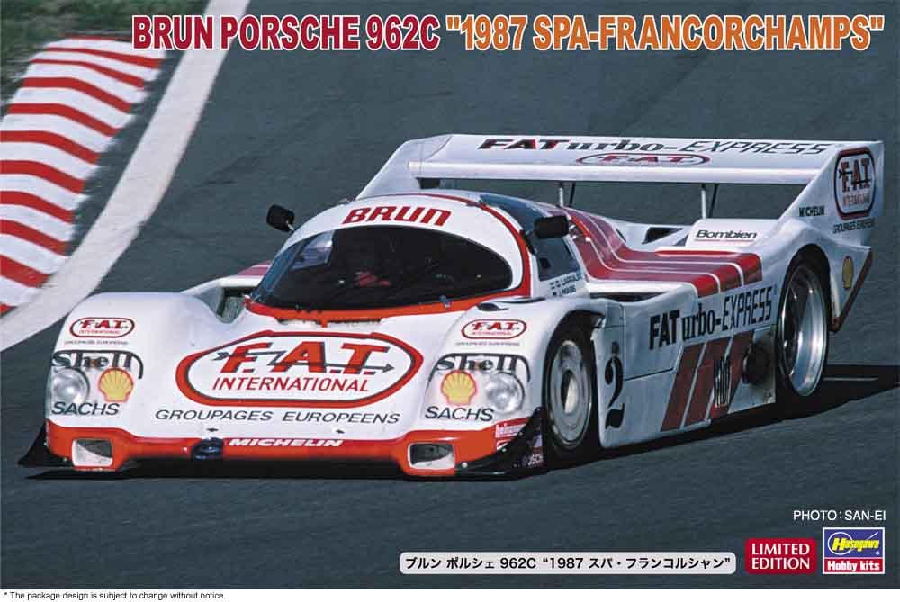 "Hasegawa 1/24 Brun Porsche 962C ""1987 Spa-Francorchamps"""