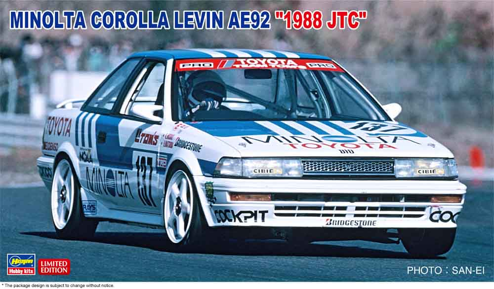 "Hasegawa 1/24 Minolta Corolla Levin AE92 ""1988 JTC"""
