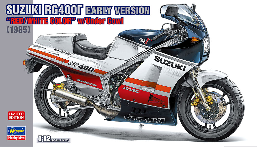 """Hasegawa 1/12 Suzuki RG400 Gamma Early Version """"Red/White Color"""" with Under Cowl"""