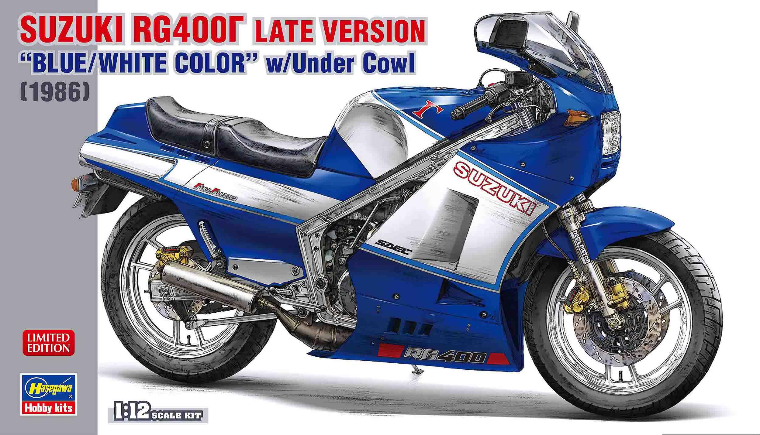"Hasegawa 1/12 Suzuki RG400 Late Version ""Blue/White Color"" W/Under Cowl"