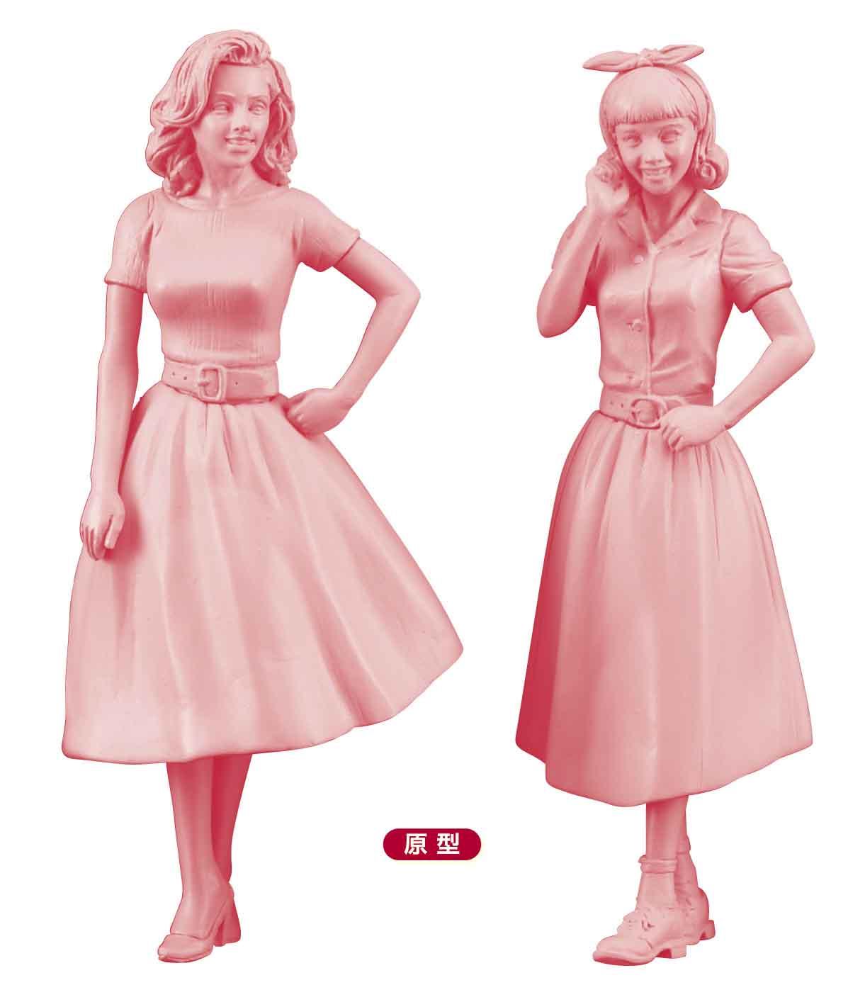 Hasegawa 1/24 50's American Girls Figure (Two Kits In The Box)
