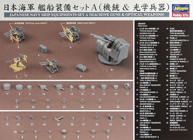 Hasegawa Japanese Navy Ship Equipments Set A (Machine Guns & Optical Weapons)