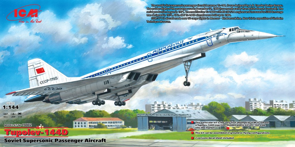 ICM 1/144 Tupolev-144D, Soviet Supersonic Passenger Aircraft