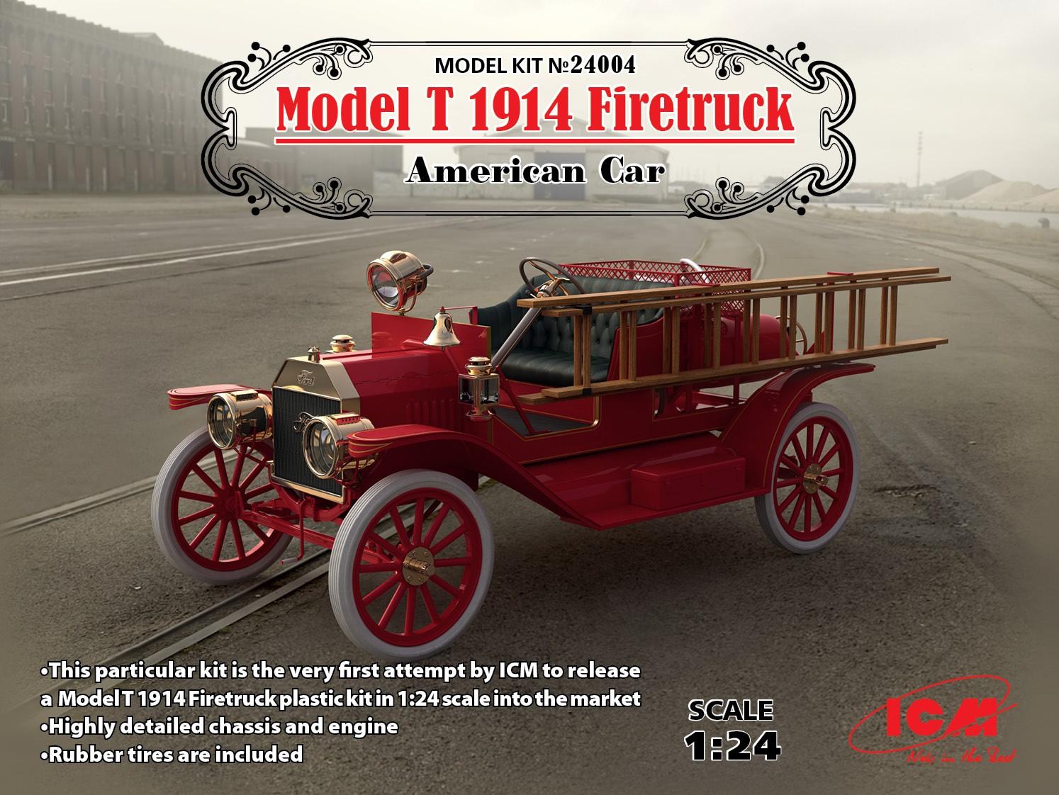 ICM 1/24 Model T 1914 Firetruck, American Car