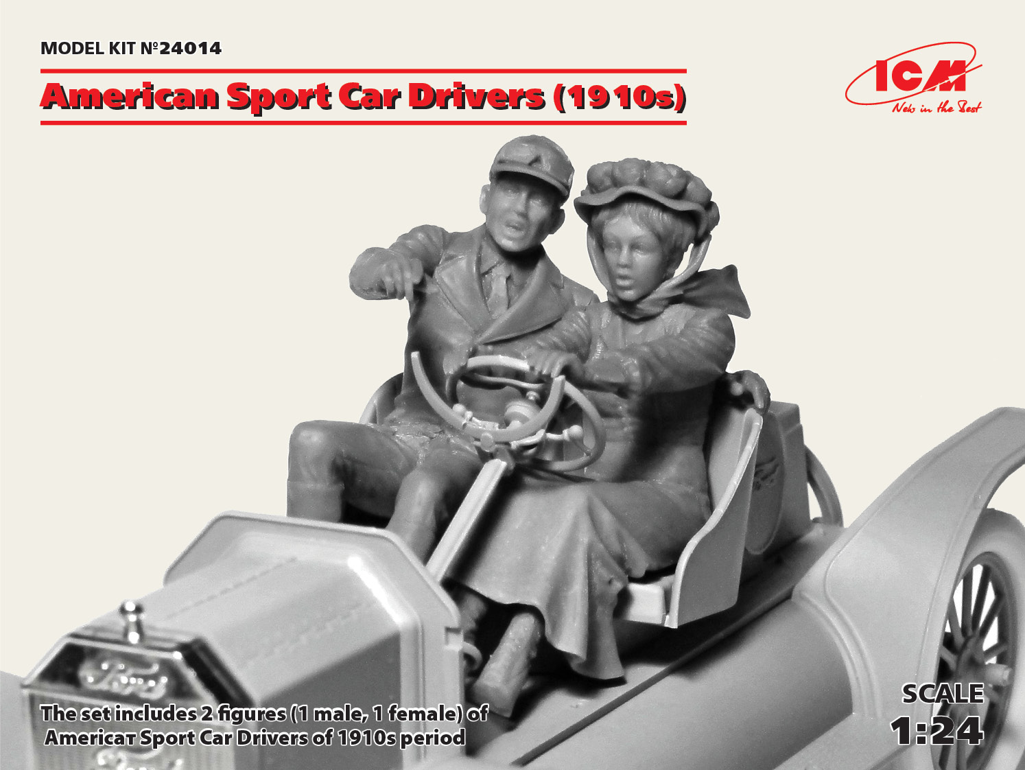 ICM American Sport Car Drivers  (1910s) (1 male, 1 female figures)  (100% new molds)